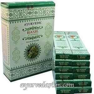 Благовония базалик, пильцовые, натуральные, Ayurvedic Basil (15gm)