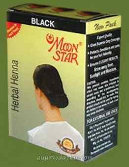 КРАСКА ДЛЯ ВОЛОС НА ОСНОВЕ ХНЫ ЧЕРНАЯ МУН СТАР (HERBAL HENNA BLACK, MOON STAR)