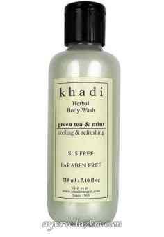 Травяной Кхади гель для душа зелений чай и алое вера Green tea Aloevera Body gel 210 ml Khadi