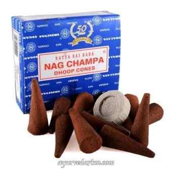Благовония  НагЧампа в конусе, сатья (Nagchampa 12 cones-satya)
