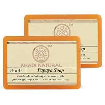 "Натуральное мыло ""Папайя"" 125 г, Кхади (Papaya soap Khadi)"
