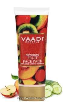 Освежающая фруктовая маска для лица с яблоком, лимоном и огурцом, 120г, Vaadi Herbals