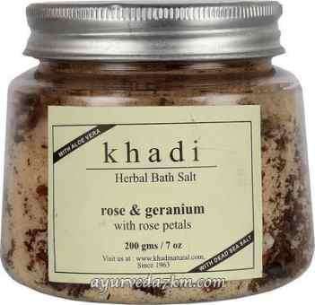 Соль для ванны Роза и глицерин Herbal bath salt Rose & geranium Salt 200 gm Khadi