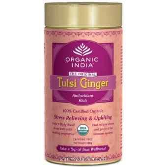 Органис чай с имбирем  Organic India Tulsi Ginger Tea 100 г